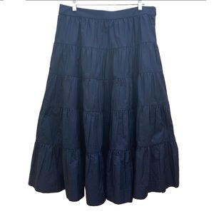 J Crew Maxi Blue Black Cotton Skirt Size 14